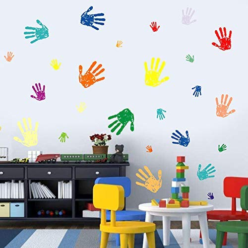 BUCKOO Colorful Hand Prints Wall Decal Sticker,Happy Everyday Colorful Small & Big Handprint Paint Peel and Stick DIY Easy to Install Stickers,Nursery Playroom Or Kids Room Decor
