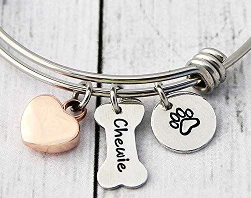 Charm Bracelet - Personalized Bangle - Pet Loss - Dog Loss - Cremation Jewelry - Ashes -Urn Bracelet-Dog Paw Print-Bone-Name-Rose Gold-Heart