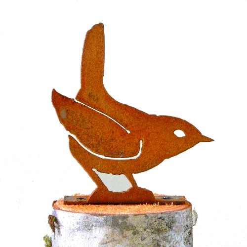 Elegant Garden Design Winter Wren, Steel Silhouette with Rusty Patina