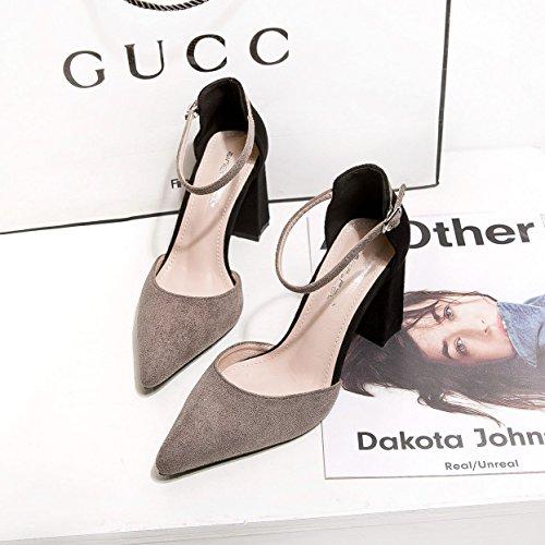 Scarpe singole della luce punta la grigio Alta a tacco con Donna alto raso scarpe 36 Scarpe del irregolare tacco xBBa018Zn