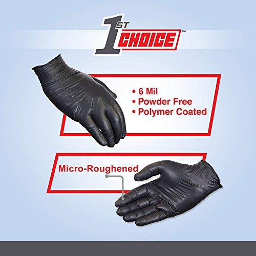 Latex Free Disposable Box of 100 Non-Sterile 1st Choice Industrial 6 Mil Black Nitrile Gloves Powder Free Size Small Textured 1PBNSBX