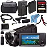 Sony HDR-CX405 HDR-CX405/B HD Handycam Camcorder + Rechargable Li-Ion Battery + Charger + Sony 64GB SDXC Card + Case + Tripod + HDMI Cable + Memory Card Wallet + Card Reader + Fibercloth Bundle