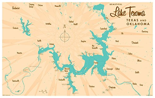 Lake Texoma TX Oklahoma Vintage-Style Map Art Print Poster by Lakebound (12