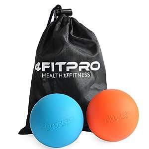 4FITPRO Lacrosse Balls  with Carry Bag, Set of 2 (Orange and Blue)