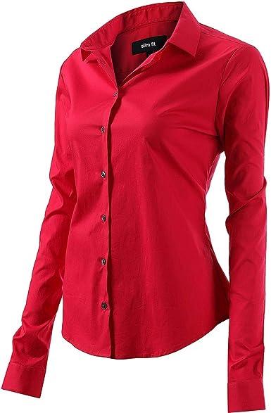 Mujer Camisa Básica de Algodón - Camisa Blusa Casual de Algodón de Manga Larga Informal con Cierre de Botón Delgado Formal, Ideal para ...