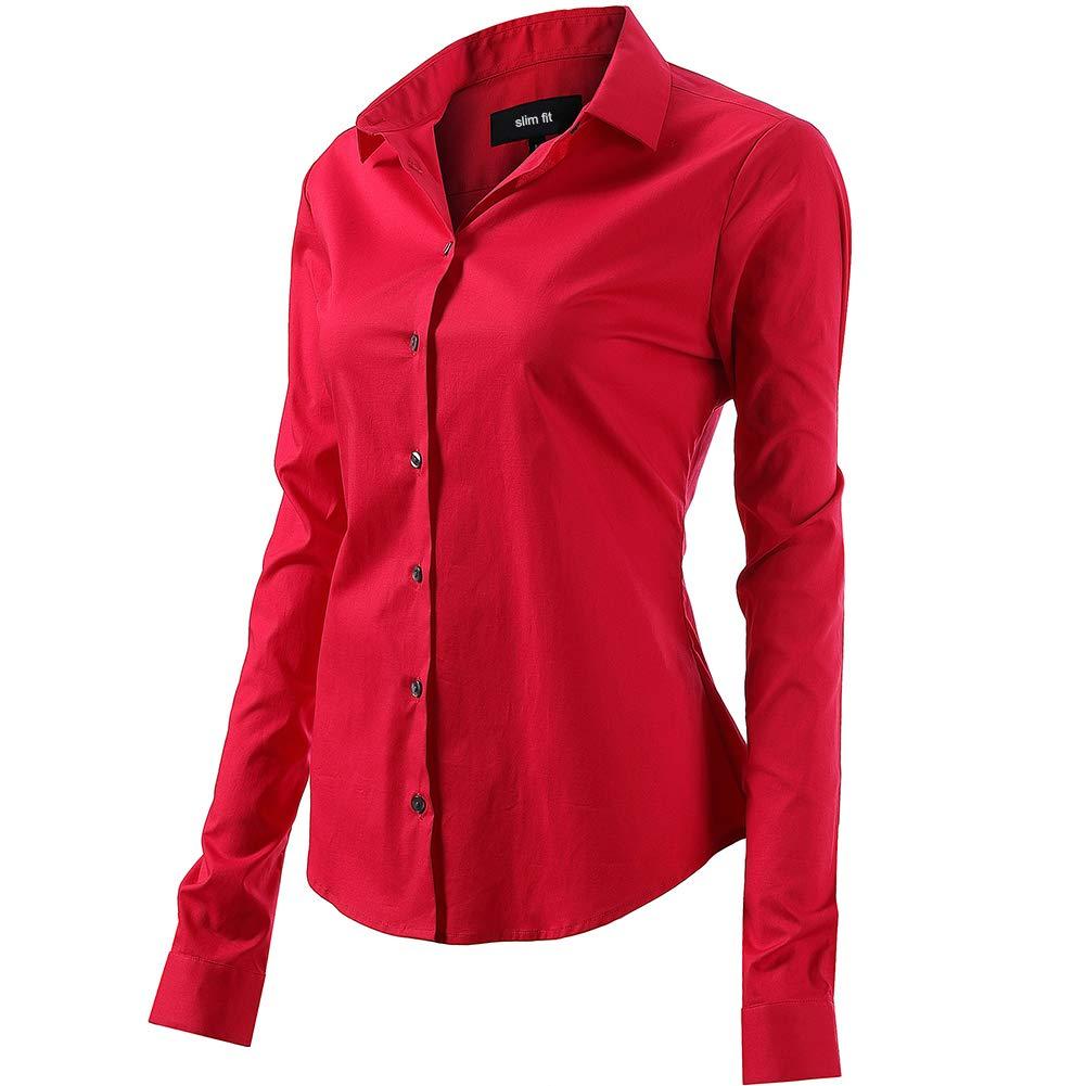 INFLATION damskjorta med knappar bomull blus långärmad tröja figurtryckt skjortblus business topp arbetskläder 11 färger röd