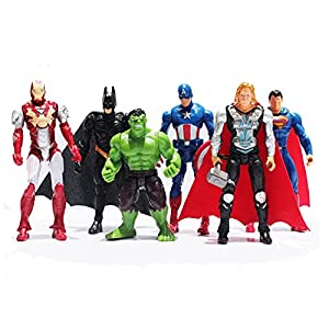 6Pcs/Set The Avengers Superheroes Figures Thor Captain America Batman Superman Hulk Iron Man PVC Figure Toy Dolls 9~10cm