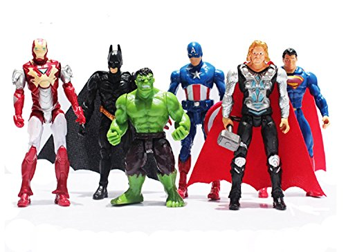 (6Pcs/Set The Avengers Superheroes Figures Thor Captain America Batman Superman Hulk Iron Man PVC Figure Toy Dolls 9~10cm)