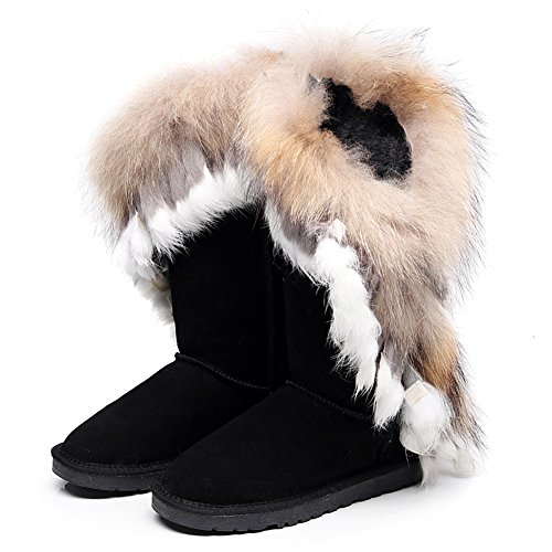 rismart Women High-End Custom Water-Resistant Half Snow Boots Stylish Glitter Suede Dressy Winter Boots With Warm Wool Lining Black SN2810 US7.5 9W0ds0R