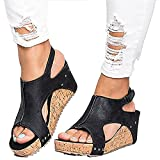 #7: Ru Sweet Women's Sandals Peep Toe PU Belt Buckle Blocking Hook-Loop Fashion Wedges Sandals Summer Shoes Heel Sandal