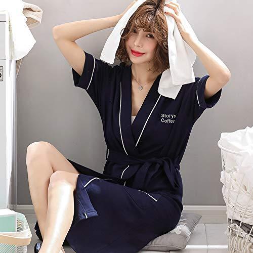 FERFERFERWON Nachthemd Nachthemd weibliche Sommer Baumwolle Home Service Bademantel sexy japanisch (Farbe  Marineblau, Größe  M)