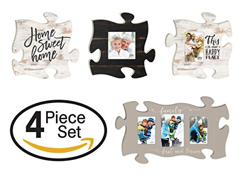 - P. Graham Dunn Home Sweet Home Family Forever Puzzle Piece Interlocking Wall Plaque and Photo Frames Set of 4