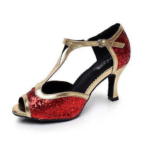 e163f7309485b T.T-Q Damen Tanzschuhe Kunstleder Flared Heel Schwarz Rot Silber Latin  Sandalen Salsa Jazz Tango Swing Praxis Indoor Performance 37