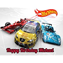 Hot Wheels Race Car Edible Image Photo Sugar Frosting Icing Cake Topper Sheet Personalized Custom Customized Birthday Party - 1/4 Sheet - 79032