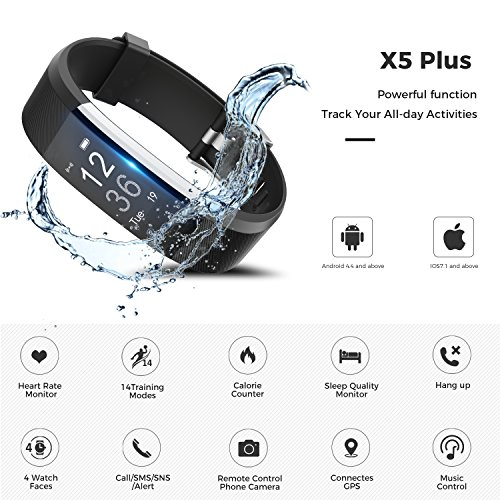 LYOU Fitness Tracker, X5 Plus HR Fitness Watch: Heart Rate Monitor Activity Tracker, Waterproof Bluetooth Wireless Smart Bracelet Pedometer for Android and IOS Phones