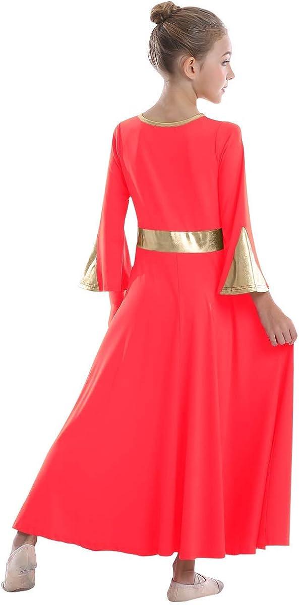 Girls Metallic Liturgical Praise Dance Dress Bell Long Sleeve Color Block Lyrical Dancewear Kid Church Worship Costume