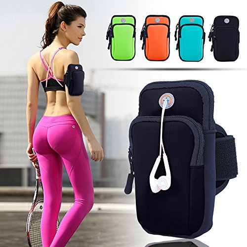 ANJ Outdoors Premium Elastic Running Armband for iPhone X, 8 Plus, 7, Galaxy Phones   Water Resistant   Large Capacity Upper Arm Band to Hold Money, Cards and Keys  Ideal Running Phone Holder (Black)