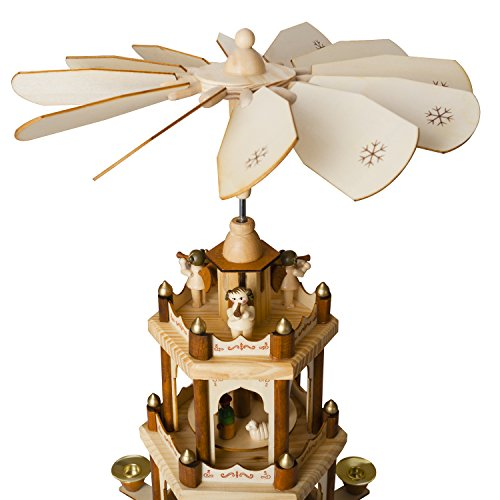 BRUBAKER Wooden Christmas Pyramid – 18 Inches – 3 Tier Carousel – Nativity Play
