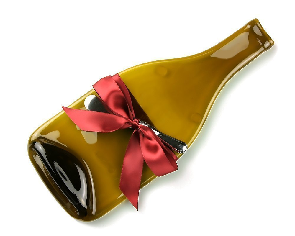 Amazon.com Amber Glass Melted Wine Bottle Cheese Tray with Cheese Spreader Unique Gift Housewarming Present for Wine Lover Handmade  sc 1 st  Amazon.com & Amazon.com: Amber Glass Melted Wine Bottle Cheese Tray with Cheese ...