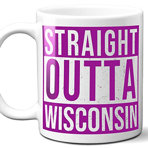 Straight Outta Wisconsin USA Souvenir Mug Gift. Love City Town Lover Coffee Unique Cup Men Women Birthday Mothers Day Fathers Day Christmas. Purple. 11 ()