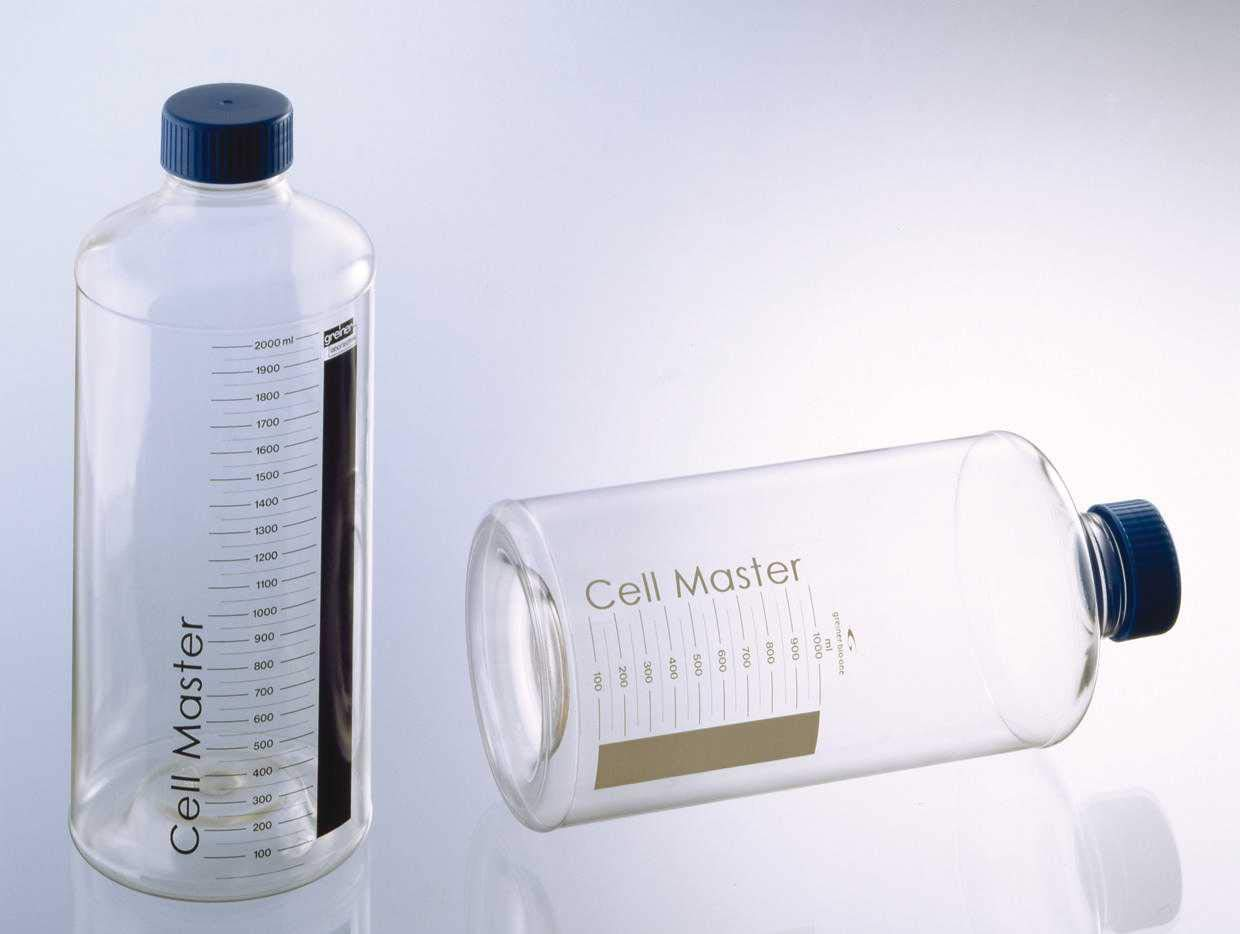 Greiner Bio-One 680160 Cellmaster Roller Bottle with Plug Seal Cap, White Label, ID Field, Graduations to 1L, 850cm2, 122mm Diameter, 271mm Height, Polyethylene Terephthalate (Pack of 18)