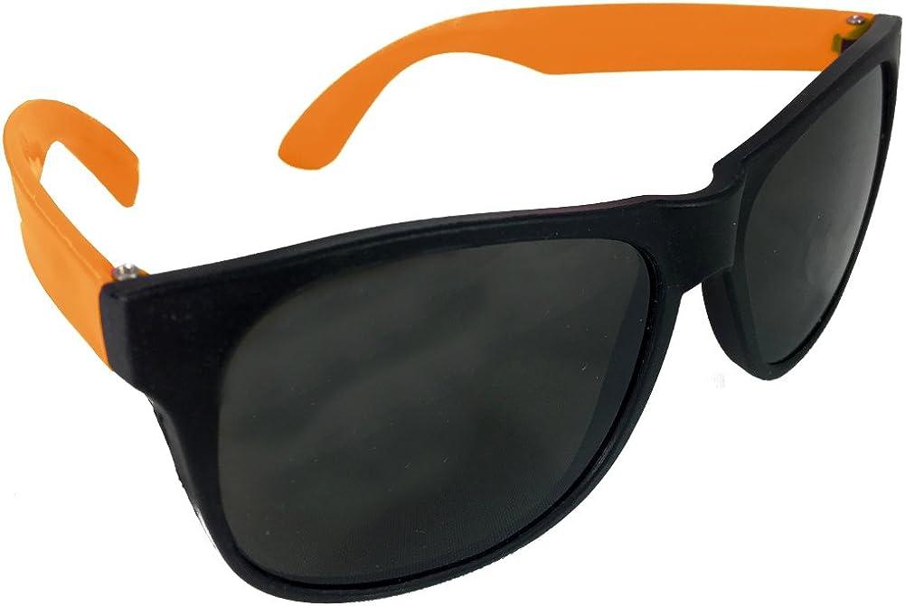 Cheesy Retro 80s Neon Orange /& Black Costume Sunglasses