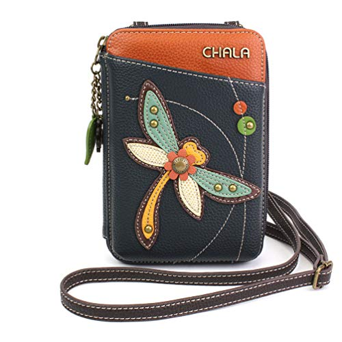 Chala Wallet Crossbody Cell Phone Purse-Women Faux Leather Multicolor Handbag with Adjustable Strap - Dragonfly Navy