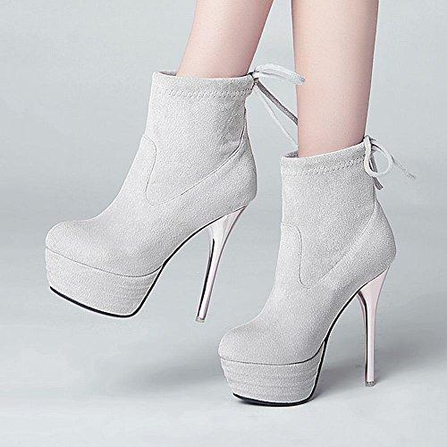 col Donna MissSaSa High Alto e Elegante Grigio Heels Tacco Moda Scarpe EqdRdH