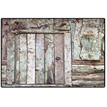 """Rustic Door Mat Indoors Old Rustic Barn Door Cottage Country Cabin Theme Rural Mystic Entrance of Home Floor Mat Pattern 32""""x48"""" Warm Taupe Cocoa"""