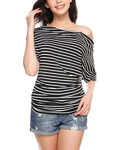 Zeagoo Women Short Sleeve Off the Shoulder Striped Cotton Top T-shirt Blouse Black L