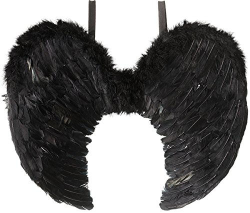 Dresses For Heaven (Adults Halloween Fancy Dress Party Accessory Heaven Angel Black Feather Wings)