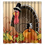 thanksgiving turkey with pumpkin Waterproof Bathroom Fabric Shower Curtain,Bathroom decor 66' x 72'