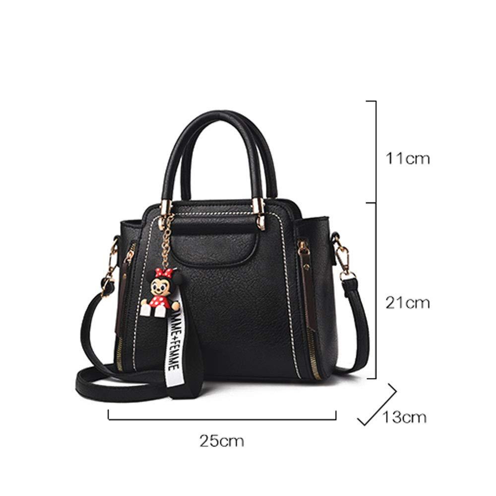 ZJDECR Damhandväskor kvinnlig tidvatten axelväska koreansk version av de bärbara modehandväskor vild messengerväska stor väska handväska (färg: svart) Mörkgrått