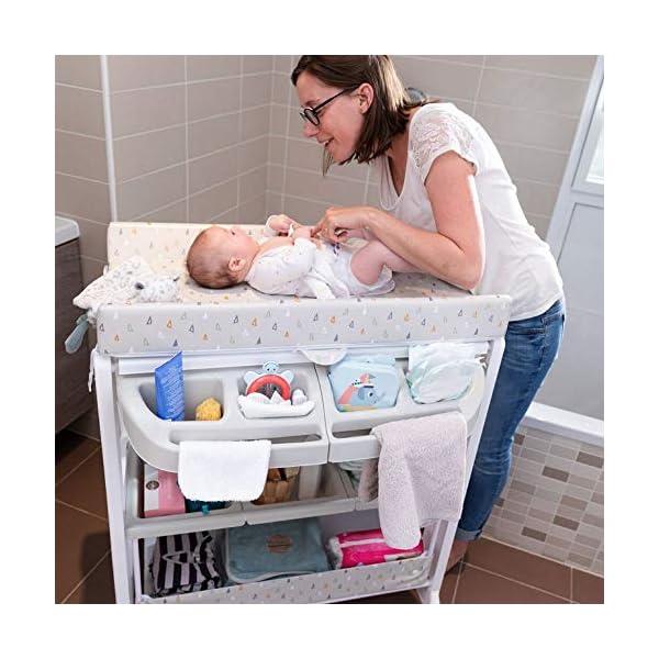 Safety 1st Dolphy Fasciatoio con vaschetta per bagnetto neonato, con materassino imbottito incluso, colore warm gray 6