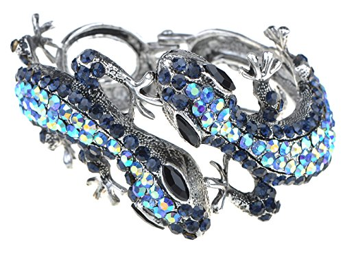Alilang Silvery Golden Blue Topaz Multicolored Rhinestones Lizard Gecko Reptile Bangle Cuff (Multi Colored Topaz Bracelet)