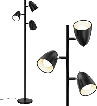 addlon Tree Floor Lamp with 3 Adjustable Rotating Lights and Matching LED Bulbs, Standing Tall Pole Lamps for Living Room, Bedroom, Home, Office - UL Listed, Black
