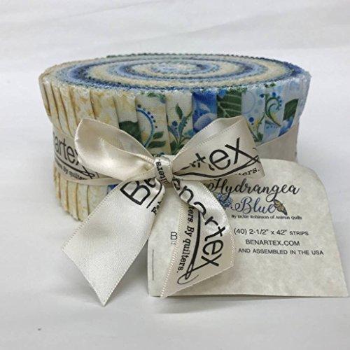 Jackie Robinson Hydrangea Blue Pinwheel 40 2.5-inch Strips Jelly Roll -