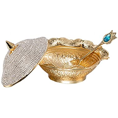 Swarovski Crystal Coated Handmade Brass Sugar Chocolate Candy Bowl Serving Dish (Gold)