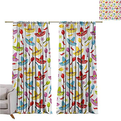 Long Curtains Fiesta,Abstract Sombrero and Maracas Pattern Geometric Star Design Colorful Illustration,Multicolor W120 x L96 inch,Blackout Curtains 2 Panels Set Room