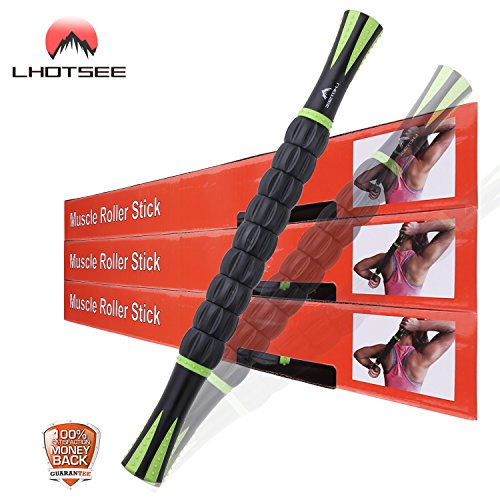 Lhotsee Muscle Roller Massage Stick – Self Myofascial Release Tool for Pressure Points, Sore Muscles, and Pain Relief Help Legs and Back Recovery,- 18″in Black Green