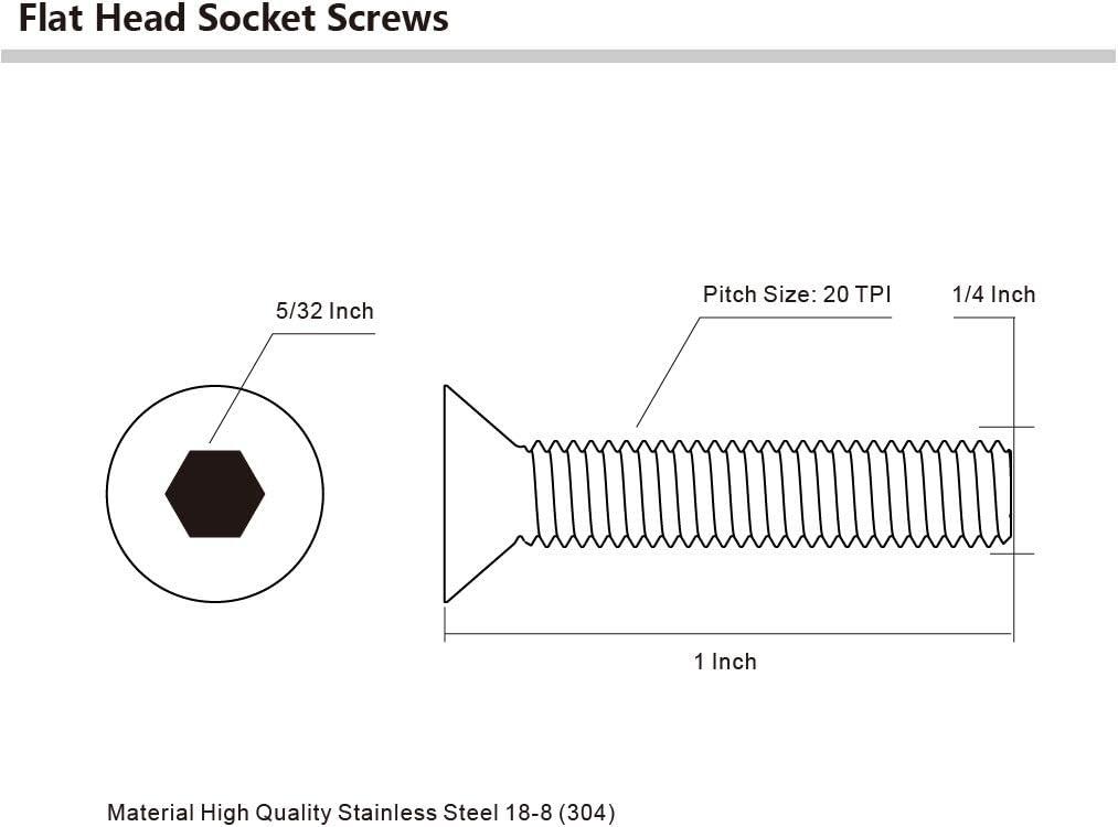 Allen Socket Drive Bright Finish Stainless Steel 304 1//4-20 x 1-1//4 Flat Head Socket Cap Screws 25 PCS Full Thread