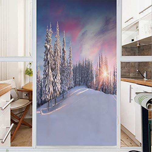 Decorative Window Film,No Glue Frosted Privacy Film,Stained Glass Door Film,Idyllic Panorama of Winter Sunrise in Snow Covered Mountains Serenity Freshness,for Home & Office,23.6In. by 47.2In