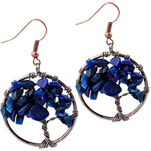 (SUNYIK Lapis Lazuli Tree of Life Dangle Earrings for Women(Copper Plated))