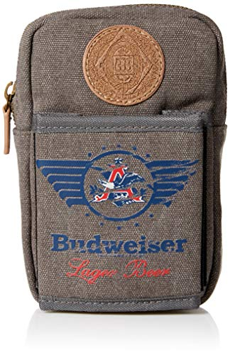 Budweiser by Buxton Men's Eagle Wings Belt Utility Pouch Accessory, grey, ()