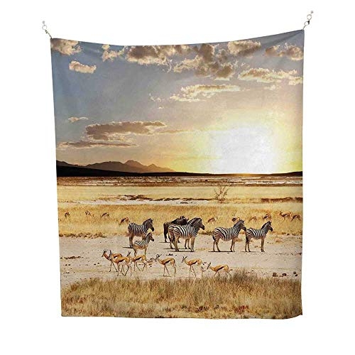 Safarioutdoor tapestryZebras with Their Striped Coats in Savannahs Sunset Adventure Africa Wild Safari 70W x 84L inch Ceiling tapestryCream Golden