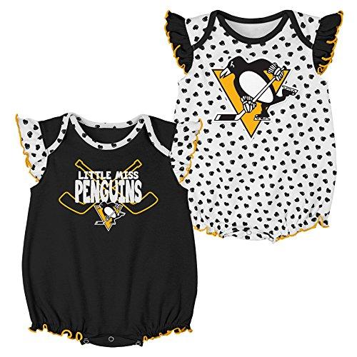 NHL Pittsburgh Penguins Children Girls Hockey Hearts 2Piece Onesie Set, 24 Months, White