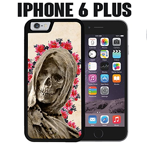 iPhone Case Floral La Santa Muerte For iPhone 6 PLUS and 6S PLUS Rubber Black With Free .33 mm Premium Tempered Glass Screen Protector (Ships from California from Casematic) (Muerte Santa Case 6 Iphone)