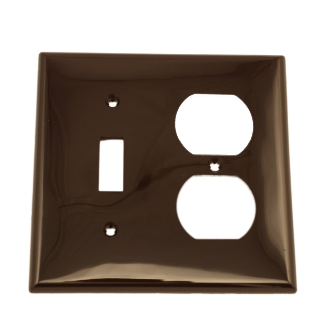 Leviton 80705 2-Gang 1-Toggle 1-Duplex Device Combination Wallplate, Standard Size, Thermoplastic Nylon, Device Mount, Brown