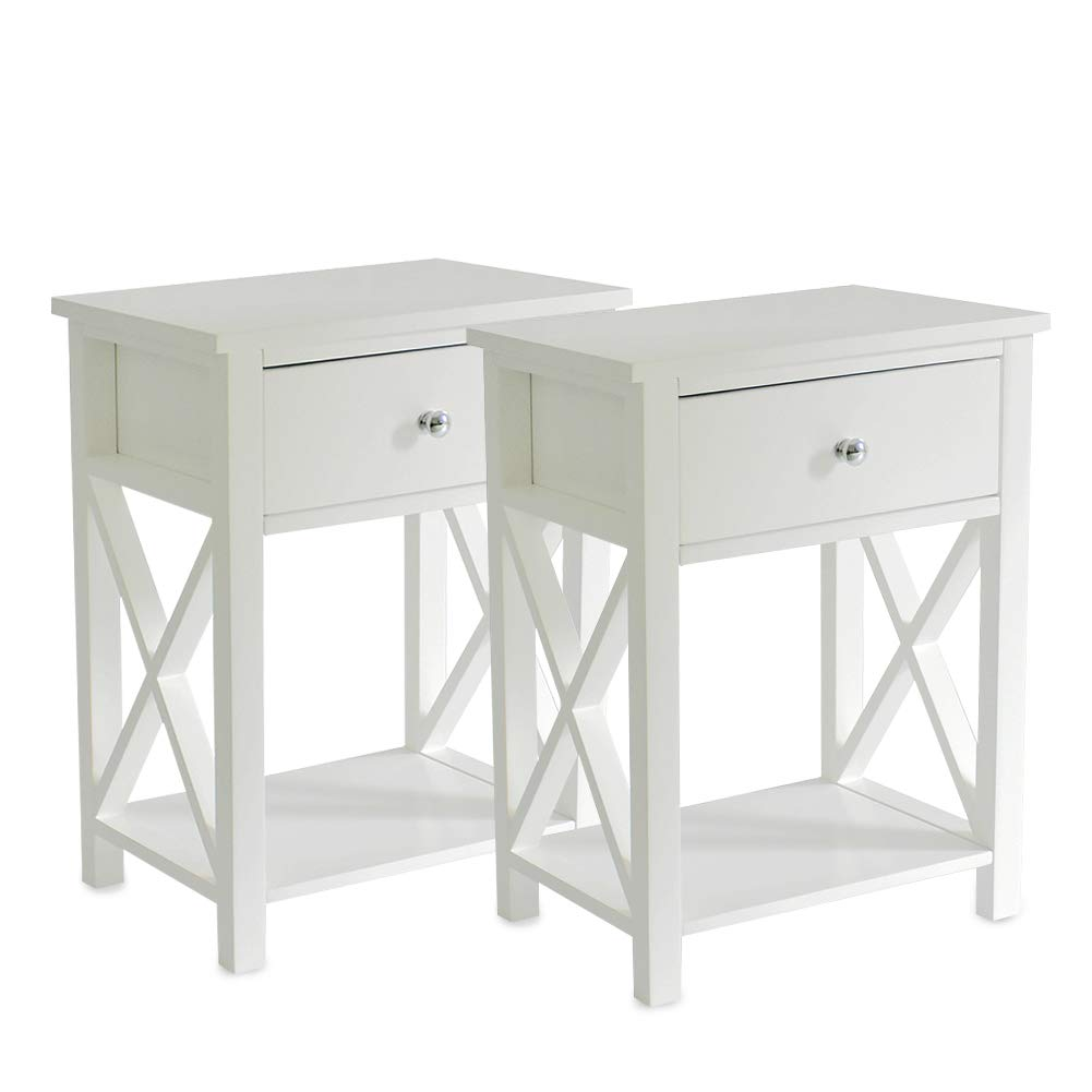 MAGIC UNION Wooden X-Design Side End Table Night Stand Storage Shelf with Bin Drawer Night Stand Sets of 2 by MAGIC UNION
