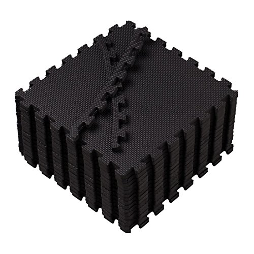 Eva Foam Mat Superjare Interlocking Tiles Protective Flooring 16 Pieces with Boarders Black